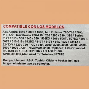 Cargador NTB(105) 19V – 3.42A Punta Amarilla